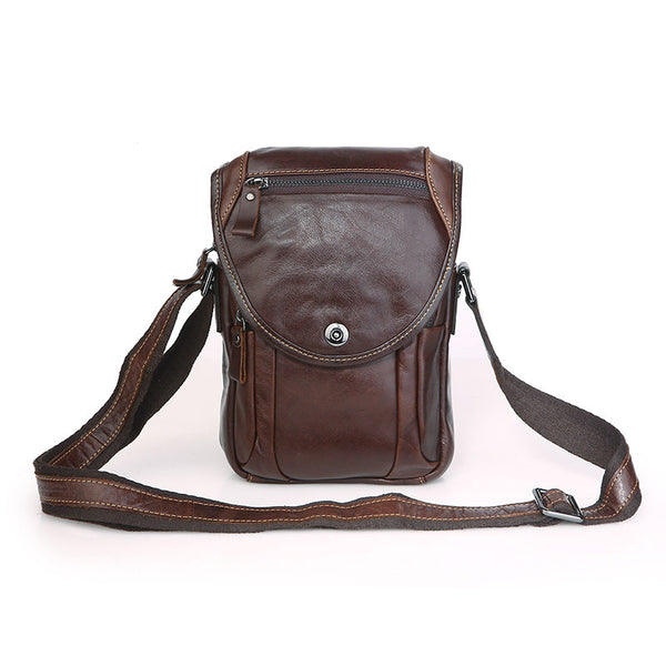 Handmade Top Grain Leather Camera Bag Men's Casual Crossbody Chest Bag 7354 - ROCKCOWLEATHERSTUDIO