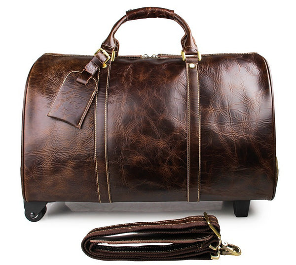 Leather Duffle Bag Mens Leather Travel Bag Business Travel Luggage Trolley Bag 7077LQ - ROCKCOWLEATHERSTUDIO