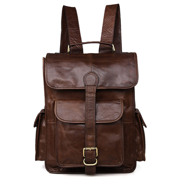 Vintage Genuine Leather Backpack, Leather School Bag, Casual Shoulder Laptop Bag For Men 7283
