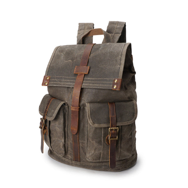 Outing Sport Travelling Waxed Canvas Leather Backpack, Casual Laptop Backpack, Vintage Waterproof Shoulder School Bag 5252