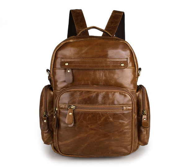 Top Grain Leather School Backpack, Casual Shoulder Bag For Women and Men 2751 - ROCKCOWLEATHERSTUDIO