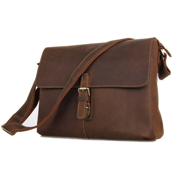Best Vintage Messenger Bags Leather Bags For Men Crazy Horse Leather Messenger Shoulder Bag 7084 - ROCKCOWLEATHERSTUDIO