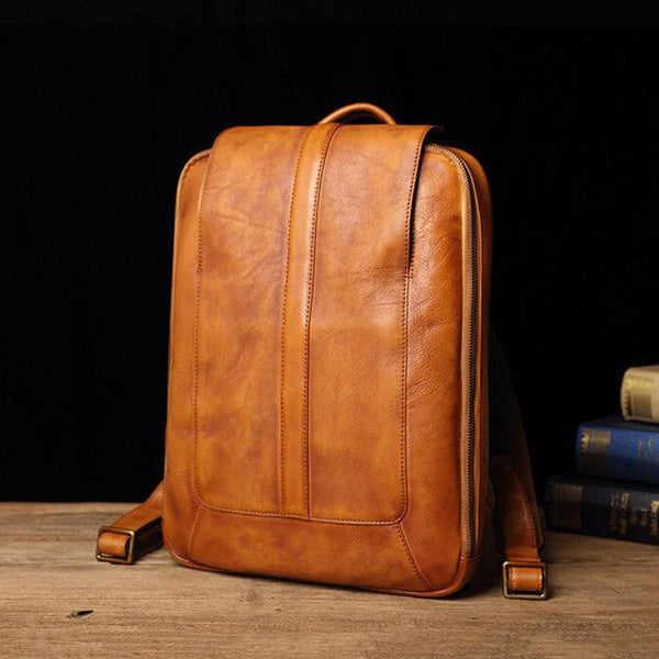 Full Grain Leather Laptop Backpack Men Casual Backpack Retro School Backpack V180336 - ROCKCOWLEATHERSTUDIO