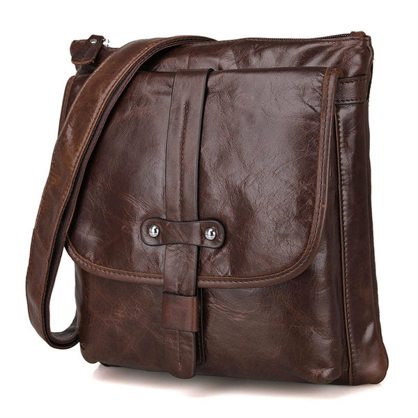 Messenger Bags Casual Leather Bags For Men Leather Messenger Corssbody Side Shoulder Bag 7045 - ROCKCOWLEATHERSTUDIO