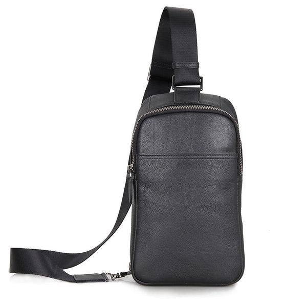 Top Grain Genuine Leather Men Chest Bags Leisure Chest Pack Men Crossbody Sling Bags 4001 - ROCKCOWLEATHERSTUDIO