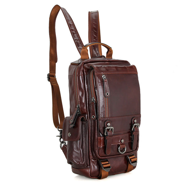 Top Grain Leather School Backpack, Vintage Shoulder Travel Bag For Women 2002