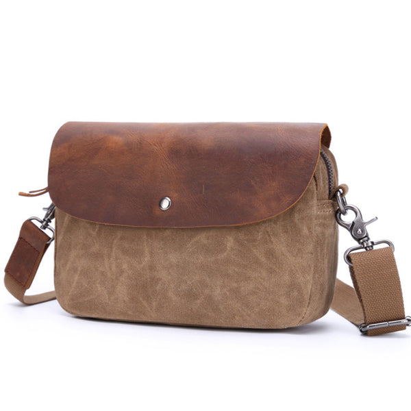 Handmade Canvas Leather Messenger Bag for Men Vintage Crazy Horse Fashion Crossbody Shoulder Bag 2069 - ROCKCOWLEATHERSTUDIO