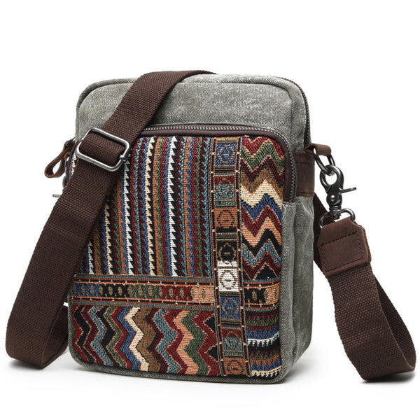 Handmade Canvas Leather Bag Chinese Style Messenger Bag Crossbody Shoulder Bag 80562-1 - ROCKCOWLEATHERSTUDIO