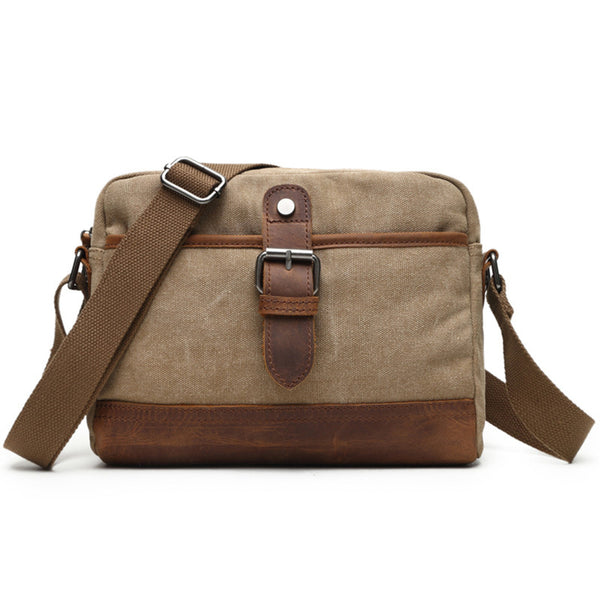 Handmade Canvas Crazy Horse Leather Messenger Bag Crossbody Shoulder Bag 2068 - ROCKCOWLEATHERSTUDIO