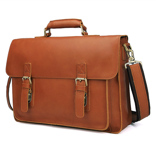 Top Grain Leather Briefcase for Men, Leather Business Messenger Bags, Men Fashion Handbags 7205B