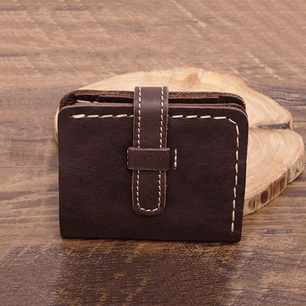 Full Grain Leather Short Wallet Men Retro Wallet Men Fold Wallet YD1020 - ROCKCOWLEATHERSTUDIO