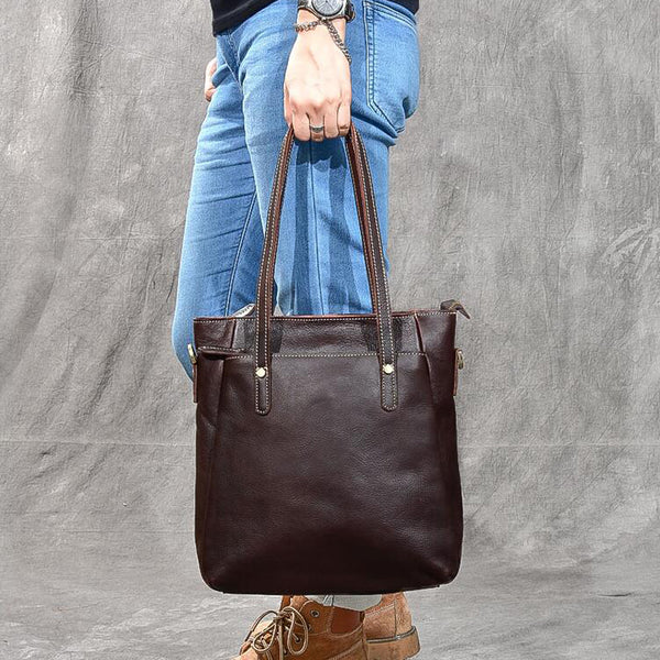 Unisex Shoulder Bag Full Grain Leather Tote Bag Large Capacity Crossbody Bag ESS378