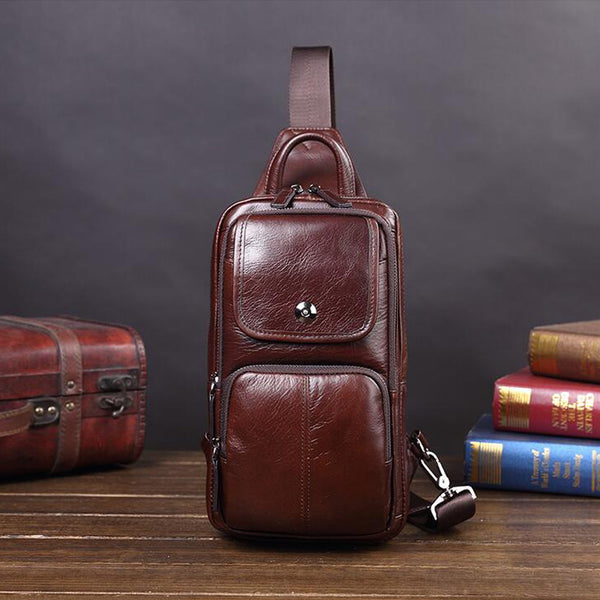 Retro Chest Pack Full Grain Leather Casual Messenger Bag Chest Bag V181219