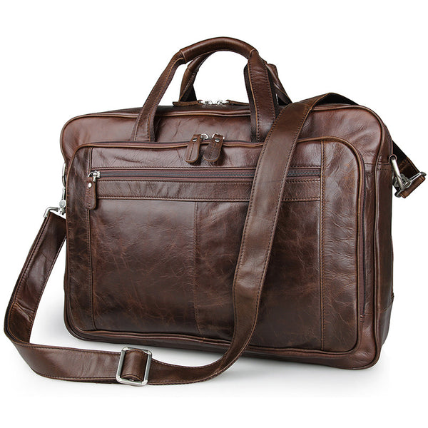Big Capacity Laptop Messenger Bag Business Briefcase Men Leather Bags Side Bags 7320 - ROCKCOWLEATHERSTUDIO