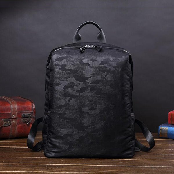 Nylon With Cowhide Leather School Backpack Waterproof Backpack Laptop Backpack V181297A