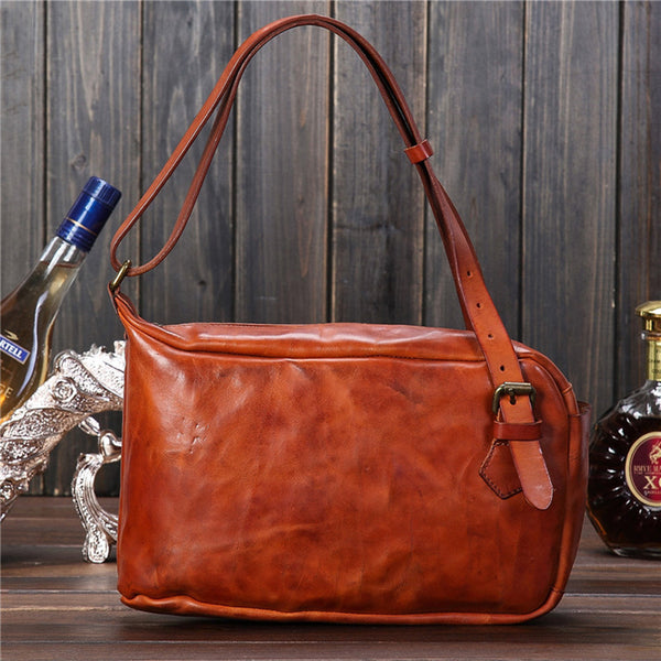 Retro Men Shoulder Bag Full Grain Leather Handbag Handmade Men Tote Bag PEYX7
