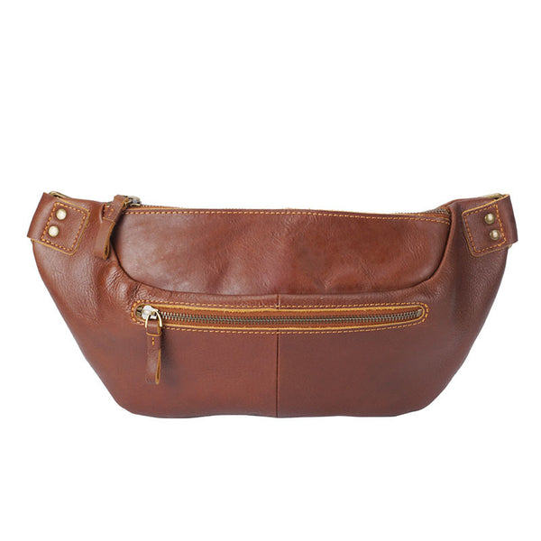 Retro Men Messenger Bag Full Grain Leather Men Shoulder Bag Men Chest Pack YD8125 - ROCKCOWLEATHERSTUDIO
