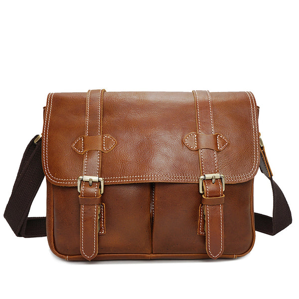 Full Grain Leather Camera Bag Retro Style DSLR Camera Bag Men Messenger Bag YD8101 - ROCKCOWLEATHERSTUDIO