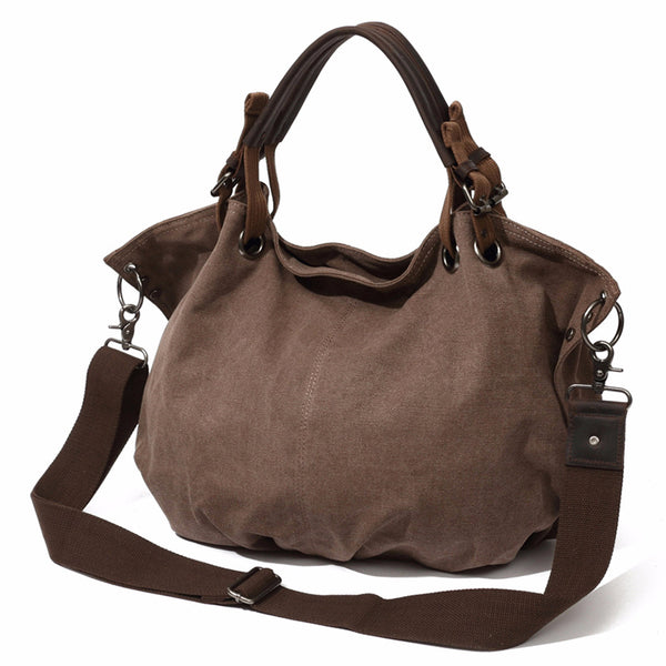 Women Canvas Leather Tote Bag, Fashion Shoulder Bags, Shopper Bag, Vintage Daily Handbag 2011010 - ROCKCOWLEATHERSTUDIO