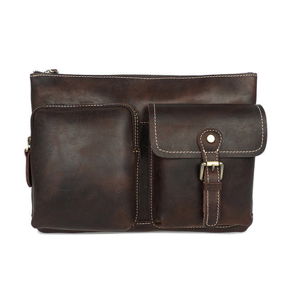 Full Grain Leather Men Shoulder Bag Handmade Men Messenger Bag Retro Crossbody Bag YD8085 - ROCKCOWLEATHERSTUDIO