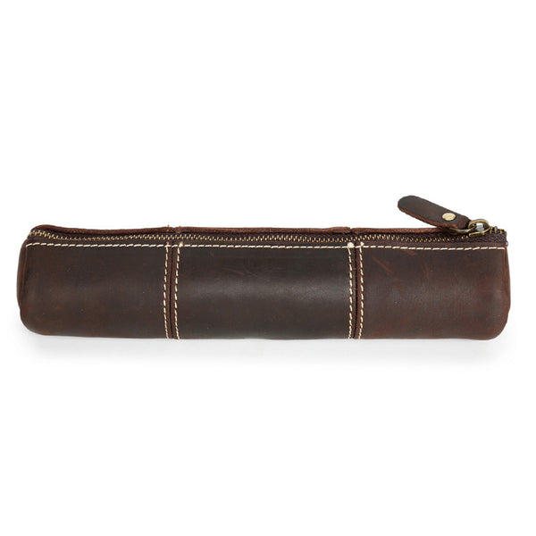 Handmade Pen Case Full Grain Leather Pen Bag Retro Tools Bag YD1023 - ROCKCOWLEATHERSTUDIO