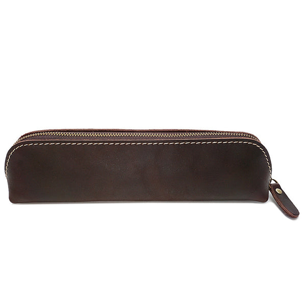 Retro Pen Bag Full Grain Leather Pencil Case Handmade Pen Holder YD1025 - ROCKCOWLEATHERSTUDIO