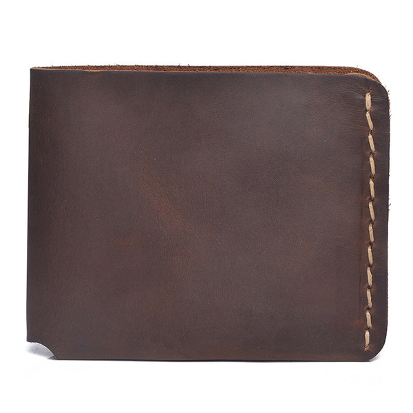 Full Grain Leather Short Wallet Simple Style Small Clutch Handmade Men Wallet YD1011 - ROCKCOWLEATHERSTUDIO