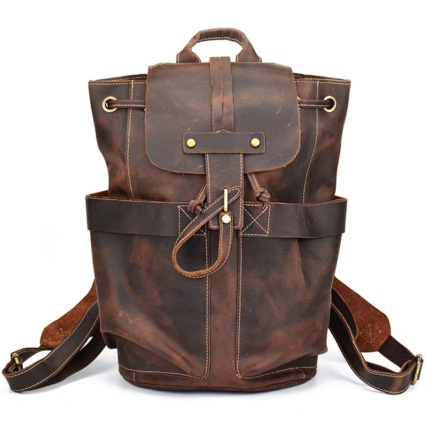 Crazy Horse Leather Travel Backpack Retro Style Full Grain Leather Laptop Backpack For Mens LF9109