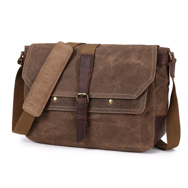 Waterproof Waxed Canvas Leather Messenger Bag Vintage Casual Crossbody Shoulder Bag Business Laptop Bag 8818 - ROCKCOWLEATHERSTUDIO