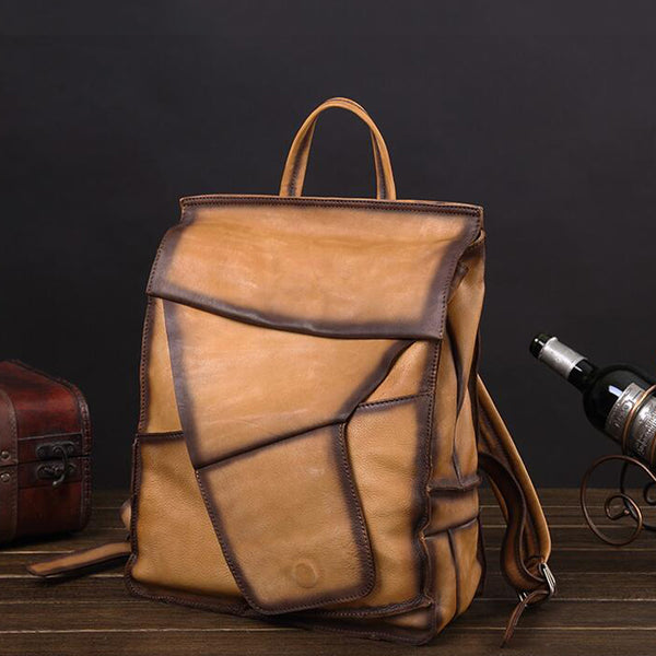 Stylish Men Travel Backpack Full Grain Leather Laptop Backpack School Backpack V180521Q - ROCKCOWLEATHERSTUDIO