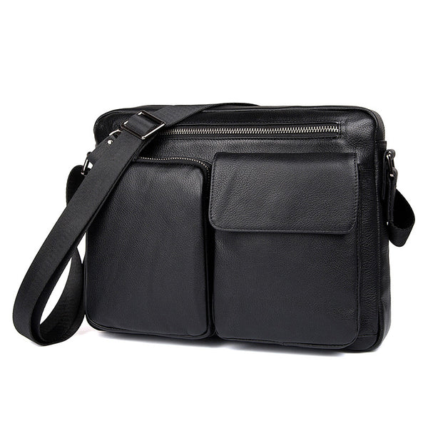 Top Grain Genuine Leather Mens Briefcase Business Messenger Bag New Fashion Crossbody Shoulder Bag 1044 - ROCKCOWLEATHERSTUDIO