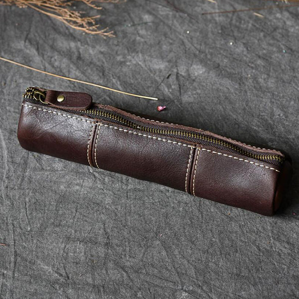 Handmade Pen Holder Full Grain Leather Pen Case Retro Pencil Case ESS68 - ROCKCOWLEATHERSTUDIO