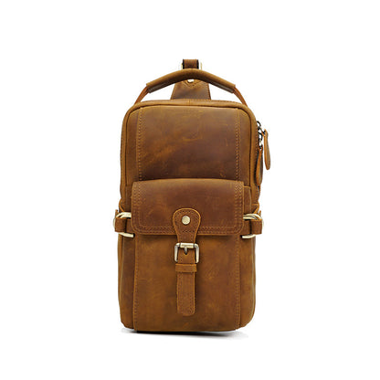 Men Retro Chest Pack Crazy Horse Leather Chest Bag Men Messenger Bag YD8075