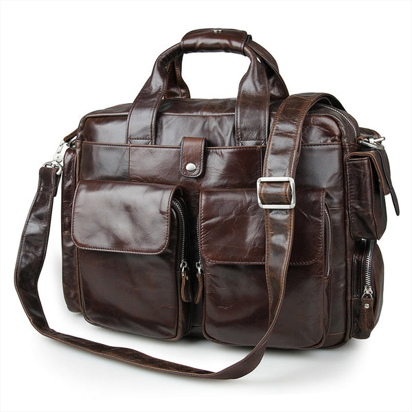 Best Vintage Laptop Messenger Bag Briefcase Men Leather Bags Side Bags For Mens 7219 - ROCKCOWLEATHERSTUDIO