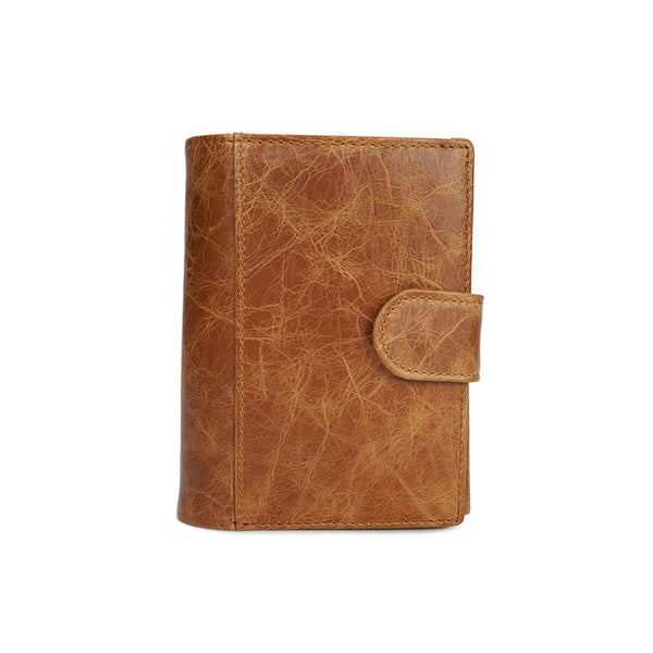 Men Short Wallet Full Grain Leather Men Passport Holder Handmade Card Holder YD6612