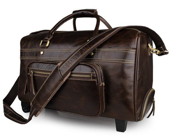 Handmade Top Grain Leather Mens Duffle Bag Luggage Trolley Bags 7317C - ROCKCOWLEATHERSTUDIO