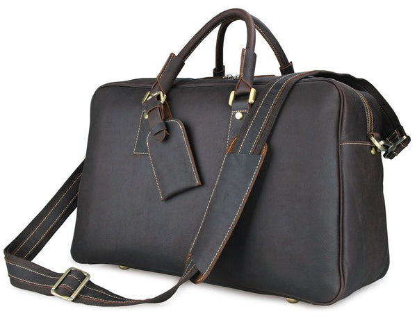 Super Large Leather Travel Duffle Bag Laptop Weekender Bag Overnight Bag 7156Q - ROCKCOWLEATHERSTUDIO