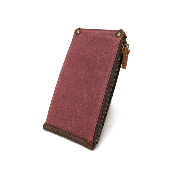 Waxed Canvas Men Long Wallet Vintage Fold Card Holder Wallet Men Waterproof Clutch YD3003