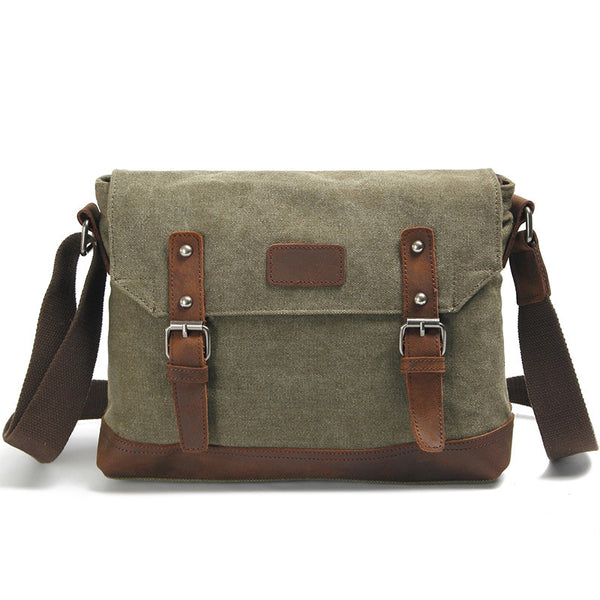 New Design Canvas Leather Messenger Bag Vintage Canvas Satchel Bag Crossbody Shoulder Bag K2031