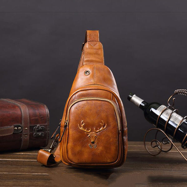 Full Grain Leather Casual Messenger Bag Retro Chest Pack Handmade Chest Bag V180737 - ROCKCOWLEATHERSTUDIO