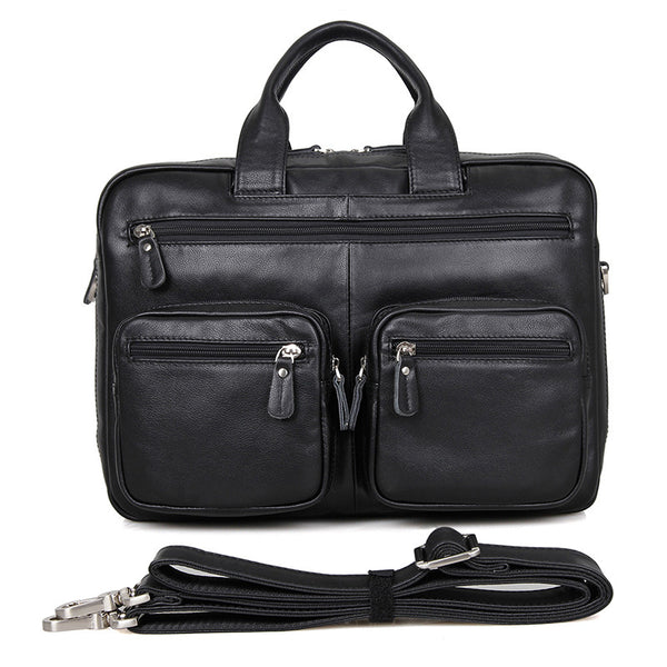 Big Capacity Laptop Messenger Bag Business Briefcase Men Leather Bags Side Bags 7231 - ROCKCOWLEATHERSTUDIO