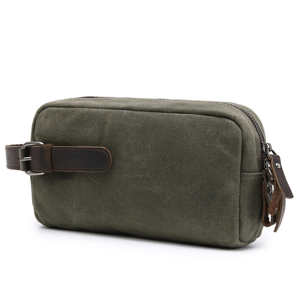 Canvas Leather Toiletry Bag New Design Dopp Kit Vintage Cosmetic Bag Wash Handbag 2058 - ROCKCOWLEATHERSTUDIO