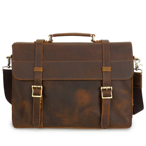 Crazy Horse Leather Messenger Bag Retro Men Briefcase Casual Business Tote Bag YD8049 - ROCKCOWLEATHERSTUDIO