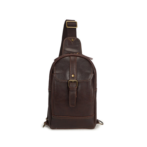 Full Grain Leather Chest Pack Men Retro Small Messenger Bag Men Shoulder Bag YD8167 - ROCKCOWLEATHERSTUDIO