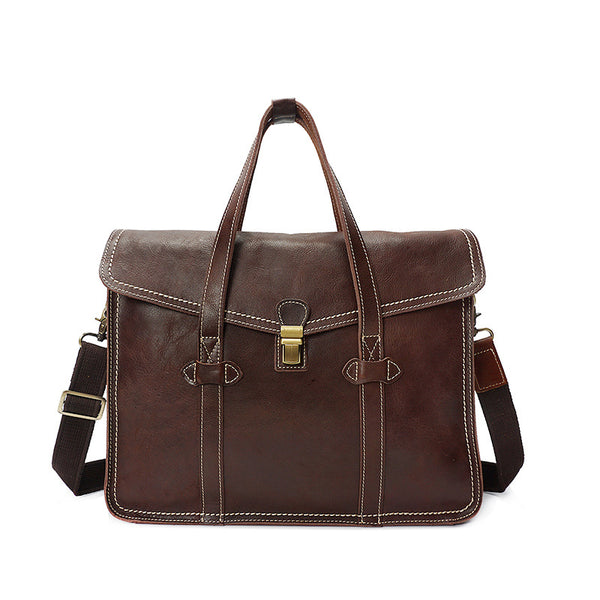 Retro Men Tote Bag Full Grain leather Men Messenger Bag Men Shoulder Bag YD8072 - ROCKCOWLEATHERSTUDIO