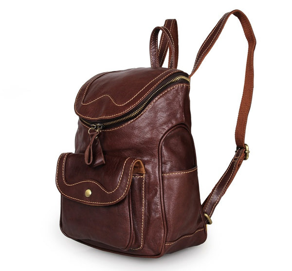 Top Grain Leather School Backpack, Fashion Casual Shoulder Travel Bag For Women 7303 - ROCKCOWLEATHERSTUDIO
