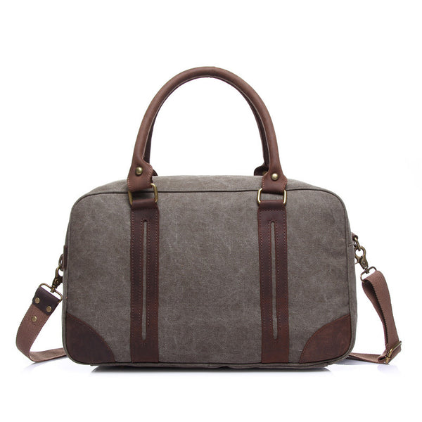 Vintage Unisex Canvas Travel Bag Large Capacity Duffle Bags Canvas With Leather Duffel Bags YD1827-1 - ROCKCOWLEATHERSTUDIO