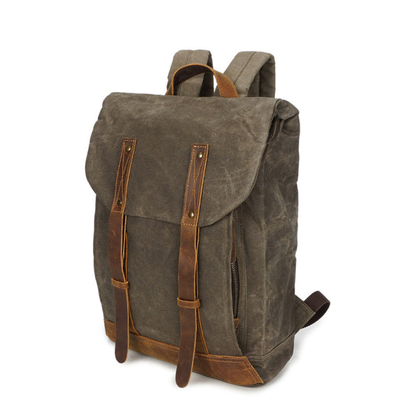 Travelling Waxed Canvas Leather Backpack, Outing Laptop Backpack, Vintage Waterproof Shoulder School Bag 5162-1