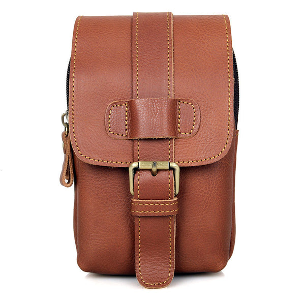 Top Grain Leather Men's Waist Bag, Vintage Handphone Bag, Casual Small Fanny Pack for Men 5002