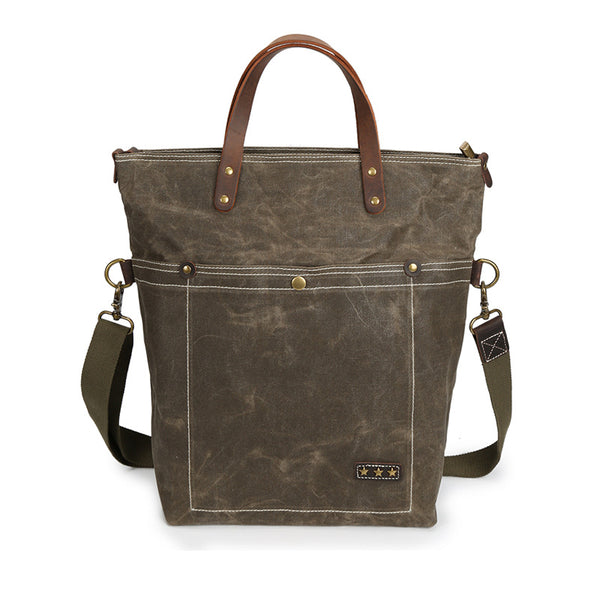 New Style Canvas Leather Tote Bag, Fashion Shoulder Bags, Shopper Bag, Vintage Daily Handbag 3096